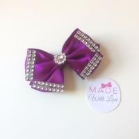 """3.5"""" Double Diamante Bow Clip - Purple"""