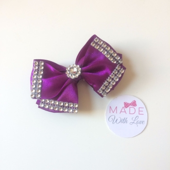 "3.5"" Double Diamante Bow Clip - Purple"