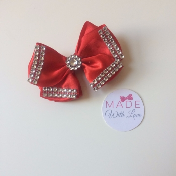 "3.5"" Double Diamante Bow Clip - Red"