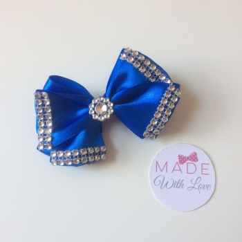 "3.5"" Double Diamante Bow Clip - Royal Blue"