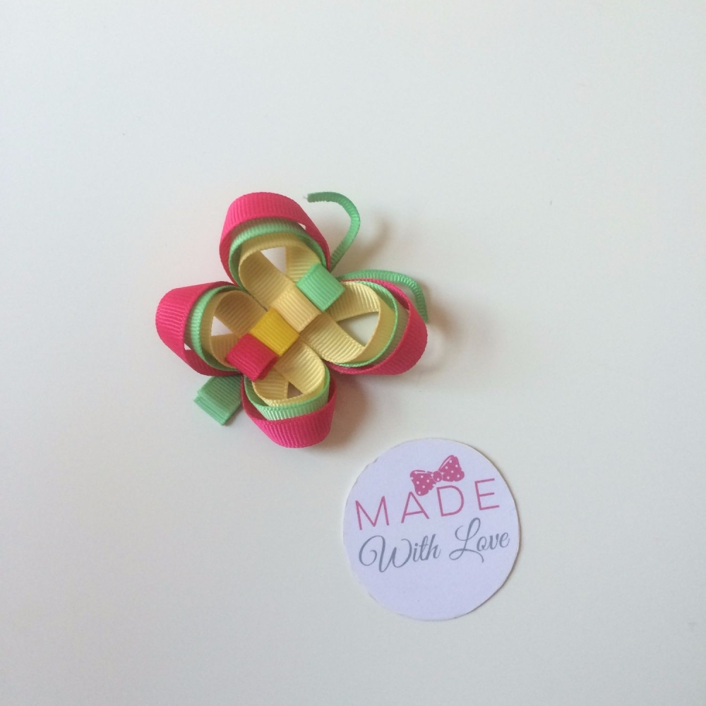 Butterfly Clip - Hot Pink, Green & Yellow