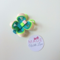 Butterfly Clip - Lime Green, Pink & Blue