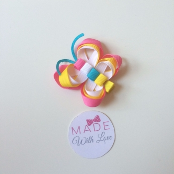 Butterfly Clip - Pink, White & Blue