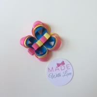 Butterfly Clip - Pink, Yellow & Royal Blue