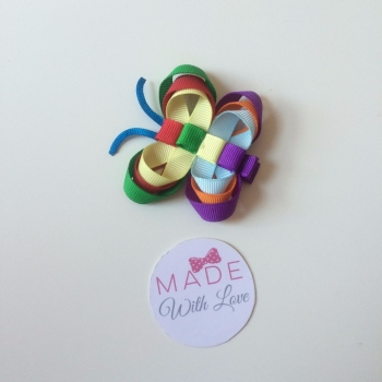 Butterfly Clip - Purple, Green & Red Mix