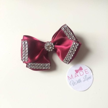 "3.5"" Double Diamante Bow Clip - Burgundy"