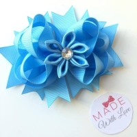 "4.5"" Flower Middle Bow Clip - Baby Blue"