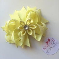"4.5"" Flower Middle Bow Clip - Lemon"