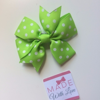 "Polka Dot 3"" Clip - Lime Green"