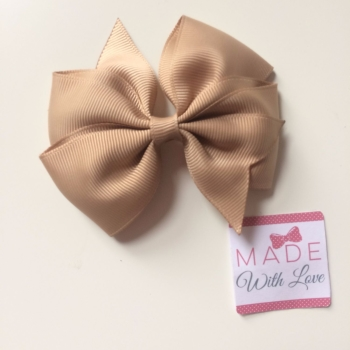 "3.5"" Wendy Bow Clip - Tan"