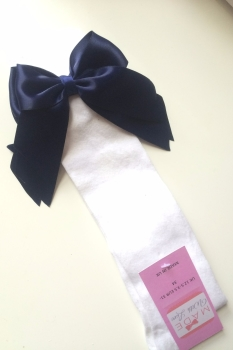 Knee Length Socks - White & Navy