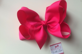"6"" Bow Clip - Shocking Pink"