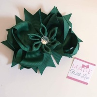 "4.5"" Flower Middle Bow Clip - Bottled Green"