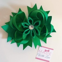"4.5"" Flower Middle Bow Clip - Green"