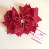 "4.5"" Flower Middle Bow Clip - Red"