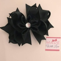 "4.5"" Flower Middle Bow Clip  - Black"