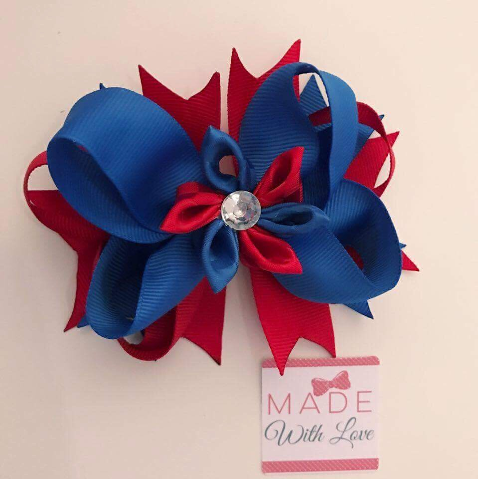 Flower Middle - Royal Blue & Red Mix