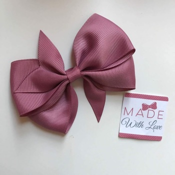 "3.5"" Wendy Bow Clip - Rosy Mauve"