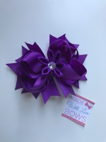 "4.5"" Flower Middle Bow Clip - Purple"