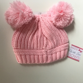 Knitted Double Pom Pom Hats - 4 Colours
