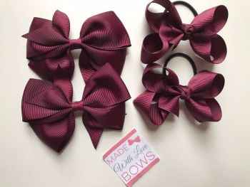 "3.5"" Bow Clips & 3"" Bobble School Pack - 9 Colours To Choose"
