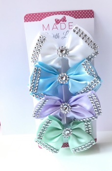 "4"" Diamanté Bow Clip Pack - White, Baby Blue, Lilac & Mint Green"