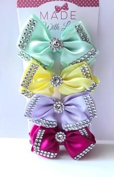 """4"""" Diamanté Bow Clip Pack"""