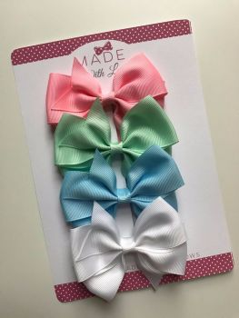 "3.5"" Flat Bow Pack - Baby Pink, Mint Green, Baby Blue & White"