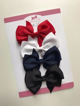"3.5"" Flat Bow Pack - Red, White, Navy & Black"