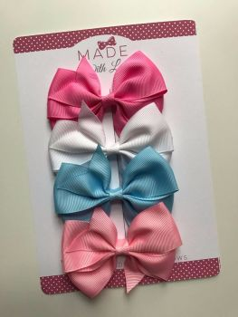 "3.5"" Flat Bow Pack - Pink, White, Baby-Blue & Baby-Pink."