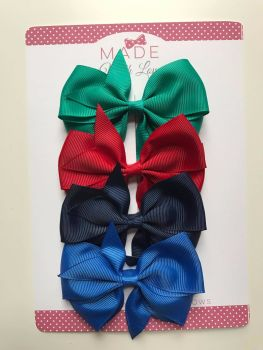 "3.5"" Flat Bow Pack - Jade-Green, Red, Navy & Royal-Blue"