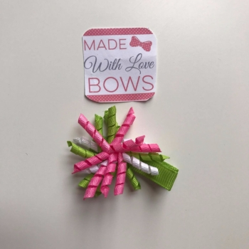 "1.75"" Corker Clip - Green, Pink & White"
