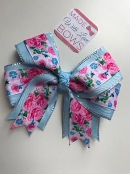 """4.5"""" Rose Clip - Blue & Pink"""