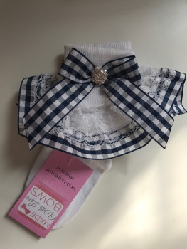 Frilly Socks - Navy Gingham