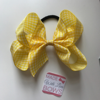"Gingham 5"" Bobble - Yellow"