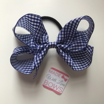 "Gingham 5"" Bobble - Navy Blue"