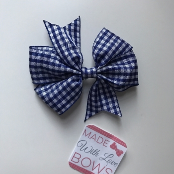 "3"" Gingham Clip - Navy Blue"