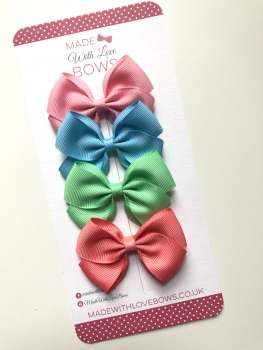"2.5"" Bow Pack - Baby Pink, Baby Blue, Mint Green & Coral"