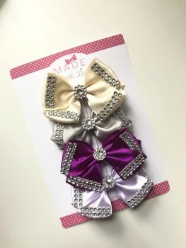 "4"" Diamanté Bow Pack - Cream, Grey, Purple & Lilac"