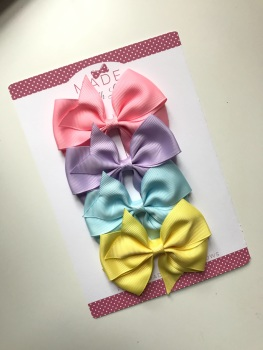 "3.5"" Bow Pack - Baby Pink, Lilac, Baby Blue & Yellow"