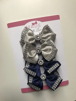Diamanté Bow Pack - X2 Grey, X2 Navy Blue
