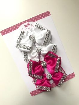 "4"" Diamanté Bow Pack - X2 White & X2 Cerise Pink"