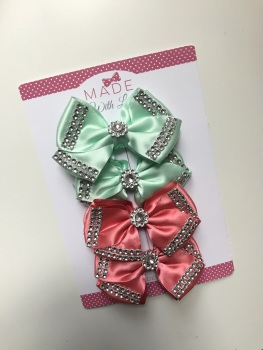 "4"" Diamanté Bow Pack - X2 Mint Green & X2 Coral"