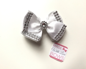 "3.5"" Double Diamante Bow Clip - White"