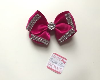 "3.5"" Double Diamante Bow Clip - Cerise"
