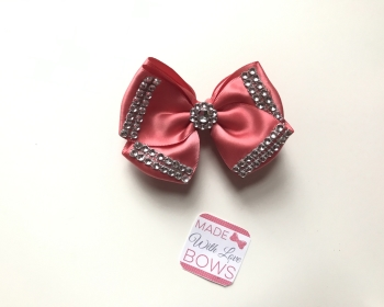 "3.5"" Double Diamante Bow Clip - Coral"
