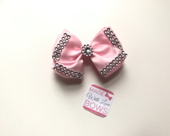 "3.5"" Double Diamante Bow Clip - Baby Pink"