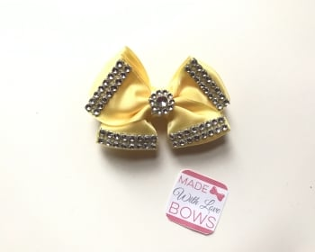 "3.5"" Double Diamante Bow Clip - Lemon"