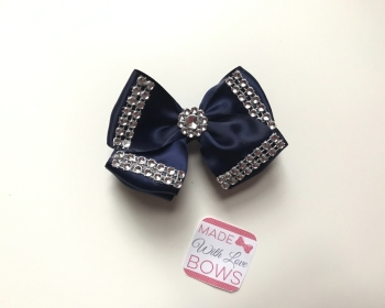 "3.5"" Double Diamante Bow Clip - Navy"