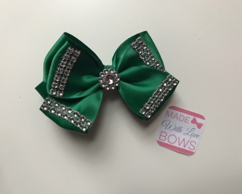"3.5"" Double Diamanté Bow Clip - Bottled Green"